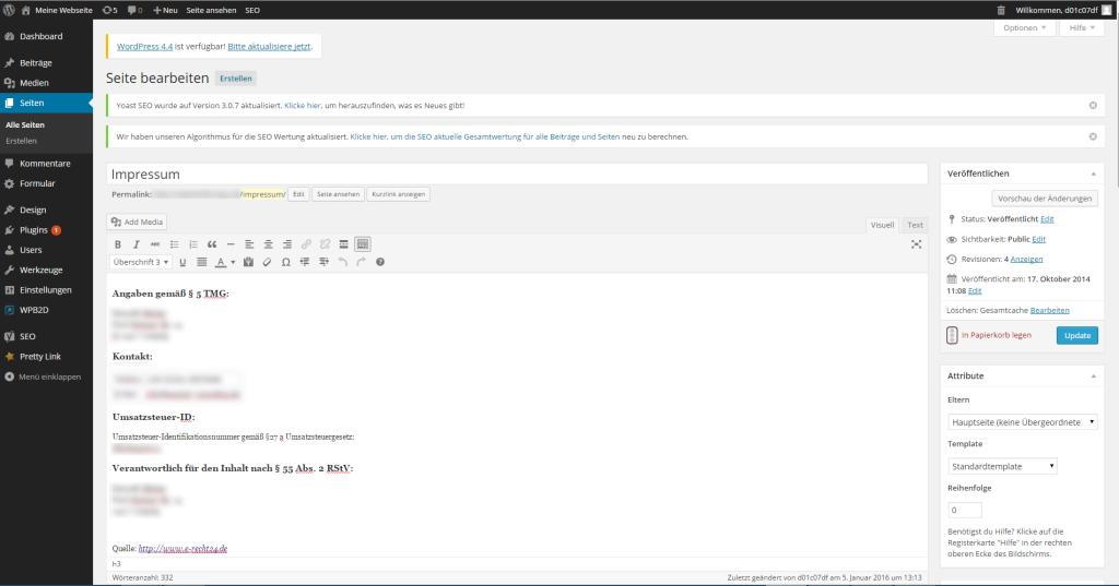 Wie erstellt man eine Website - Impressum