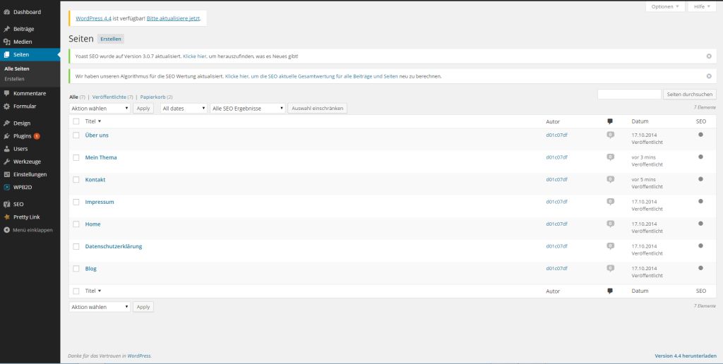 Wie erstellt man eine Website - Übersicht Seiten